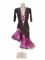 Black pink sequins latindress